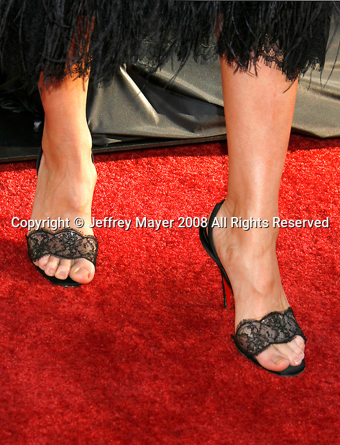 """Actress Amanda Peet 's shoes at the The World Premiere of """"The X-Files: I Want To Believe"""" at Mann's Grauman Chinese Theatre on July 23, 2008 in Hollywood, California."""