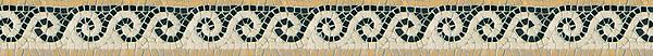 "3 1/2"" Roman Viesta border, a hand-chopped mosaic shown in tumbled Botticino, Persian Gold, and Nero Marquina by New Ravenna."