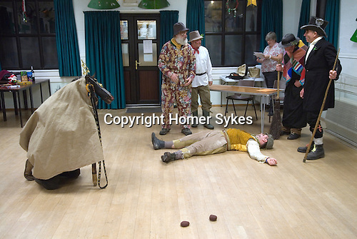 Hooden Horse Christmas play at St Nicholas-at-Wade Thanet Kent 2014. Performance in village hall. Prompter in background.