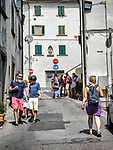 Waling a street in Vinci, Tuscano, Italy