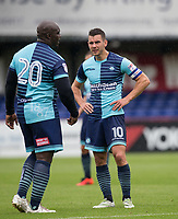 Matt Bloomfield of Wycombe Wanderers & Adebayo Akinfenwa of Wycombe Wanderers during the pre season friendly match between Aldershot Town and Wycombe Wanderers at the EBB Stadium, Aldershot, England on 22 July 2017. Photo by Andy Rowland.