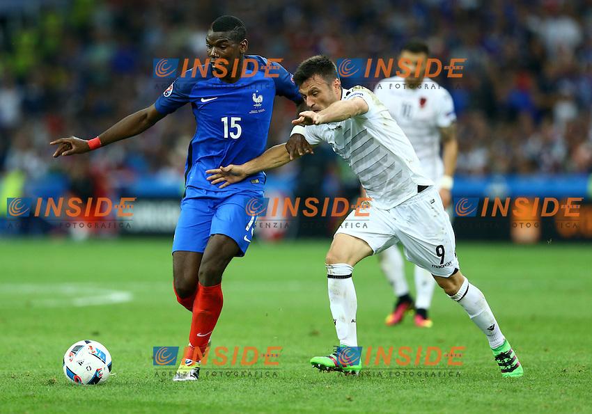 Paul Pogba France and Bekim Balaj Albania<br /> Marseille 15-06-2016 Stade Velodrome Footballl Euro2016 France - Albania  / Francia - Albania Group Stage Group A. Foto Matteo Ciambelli / Insidefoto