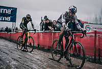 Wout Van Aert (BEL/Cibel-Cebon) leading the race ahead of Toon Aerts (BEL/Telenet Fidea Lions)<br /> <br /> Elite Men's Race<br /> Belgian National CX Championschips<br /> Kruibeke 2019
