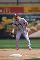 Reading Fightin Phils first baseman Kyle Martin (33) during a game against the Erie SeaWolves on May 18, 2017 at UPMC Park in Erie, Pennsylvania.  Reading defeated Erie 8-3.  (Mike Janes/Four Seam Images)