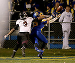 BROOKINGS, SD - OCTOBER 11:  Jimmie Forsythe #25 from South Dakota State knocks away a pass intended for Julian Burton #3 from Missouri State in the fourth quarter Saturday evening at Coughlin Alumni Stadium in Brookings. (Photo/Dave Eggen/Inertia)
