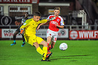Fleetwood Town's forward Harvey Saunders (32) closes down the Liverpool keeper during the The Leasing.com Trophy match between Fleetwood Town and Liverpool U21 at Highbury Stadium, Fleetwood, England on 25 September 2019. Photo by Stephen Buckley / PRiME Media Images.