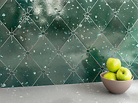 Essex, a waterjet stone mosaic, shown in Ivy Basalto, is part of the Bright Young Things™ collection by New Ravenna.