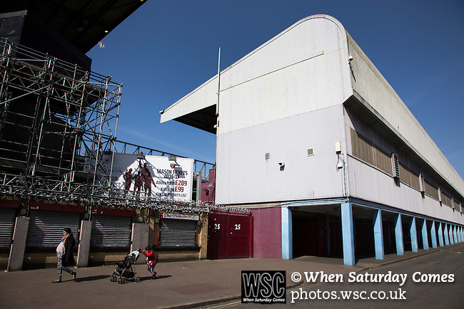 West Ham United 2 Crystal Palace 2, 02/04/2016. Boleyn Ground, Premier League. An exterior view of the East Stand at the Boleyn Ground, pictured before West Ham United hosted Crystal Palace in a Barclays Premier League match. The Boleyn Ground at Upton Park was the club's home ground from 1904 until the end of the 2015-16 season when they moved into the Olympic Stadium, built for the 2012 London games, at nearby Stratford. The match ended in a 2-2 draw, watched by a near-capacity crowd of 34,857. Photo by Colin McPherson.