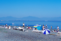 Summer Recreational Activities along Pacific Ocean, Boundary Bay Regional Park, Delta, BC, British Columbia, Canada - People sunbathing on Sandy Beach