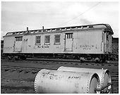 D&amp;RGW bunk car X119 with passenger trucks.<br /> D&amp;RGW  Durango, CO  Taken by Payne, Andy M. - 2/26/1958