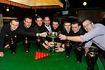 The New Institute Team from Nenagh, County Tipperary who won the Ladbrokes Munster Team Snooker competition at The Glebneagle Hotel, Killarney at the weekend. recieving their trophy from Olivier Papin, The Gleneagle Hotel, from left,  Damien Shoer, Damien Long, Mark Walsh, Tommy Gleeson, captain, Brendan O'Donoghue, Paudie Kelly and team manager Aidan Manicle..Picture by Don MacMonagle