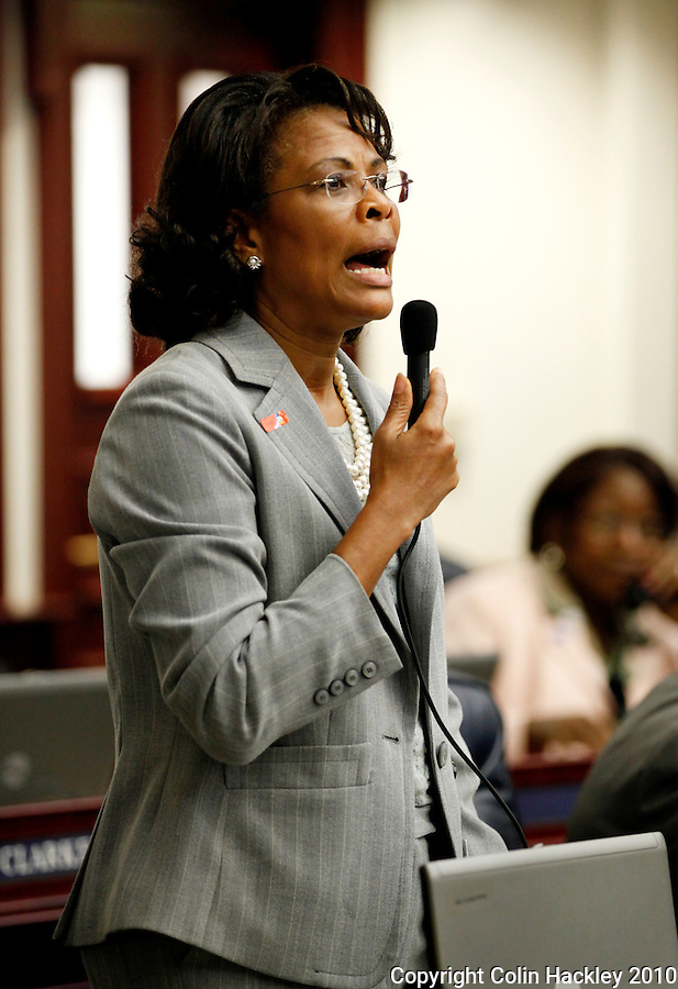 TALLAHASSEE, FLA. 4/30/10-ROBERSON 43010 CH01-Rep. Yolly Roberson, D-Miami, speaks during the final day of the 2010 legislative session at the Capitol in Tallahassee...COLIN HACKLEY PHOTO