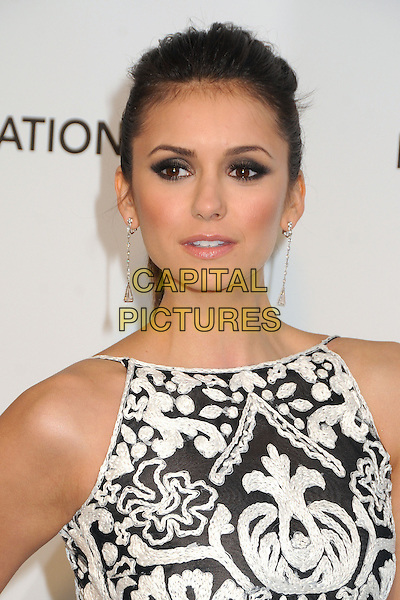 Nina Dobrev.21st Annual Elton John Academy Awards Viewing Party held at West Hollywood Park, West Hollywood, California, USA..February 24th, 2013.oscars headshot portrait sleeveless white  black pattern embroidered dangling earrings smokey eyes eyeshadow make-up .CAP/ADM/BP.©Byron Purvis/AdMedia/Capital Pictures.