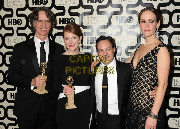 Jay Roach, Julianne Moore, Danny Strong, Sarah Paulson.HBO's 70th Annual Golden Globes After Party held at Circa 55 Restaurant, Beverly Hills, California, USA..January 13th, 2013.globe half length black white shirt tie gold winners trophy trophies .CAP/ADM/BP.©Byron Purvis/AdMedia/Capital Pictures.