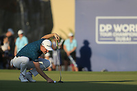 Justin Rose (ENG) on the 18th during the 3rd round of the DP World Tour Championship, Jumeirah Golf Estates, Dubai, United Arab Emirates. 23/11/2019<br /> Picture: Golffile | Fran Caffrey<br /> <br /> <br /> All photo usage must carry mandatory copyright credit (© Golffile | Fran Caffrey)