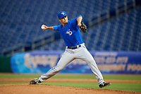 Dunedin Blue Jays relief pitcher Connor Eller (27) delivers a pitch during a game against the Clearwater Threshers on April 6, 2018 at Spectrum Field in Clearwater, Florida.  Clearwater defeated Dunedin 8-0.  (Mike Janes/Four Seam Images)