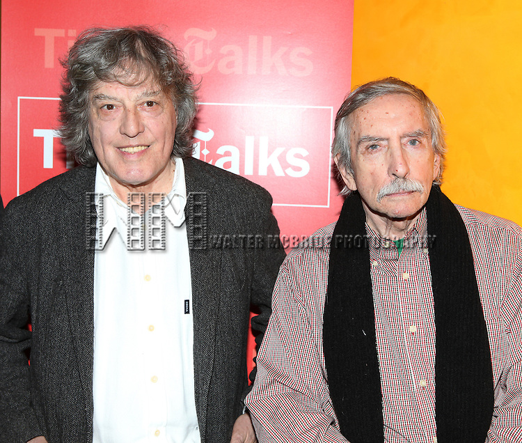 Tom Stoppard & Edward Albee backstage at Times Talks: A Conversation with Tom Stoppard at the Times Center in New York City.