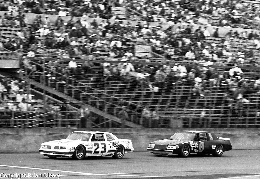Davey Allison 23 Rick Wilson 6 ARCA action at Daytona International Speedway in Daytona Beach, FL on February  1984. (Photo by Brian Cleary/www.bcpix.com)