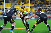 James Broadhurst takes the ball up during the Super Rugby match between the Hurricanes and Sharks at Westpac Stadium, Wellington, New Zealand on Saturday, 9 May 2015. Photo: Dave Lintott / lintottphoto.co.nz