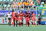 The Hague, Netherlands, June 13: Players of Korea celebrate after scoring during the field hockey placement match (Women - Place 7th/8th) between Korea and Germany on June 13, 2014 during the World Cup 2014 at Kyocera Stadium in The Hague, Netherlands. Final score 4-2 (2-0)  (Photo by Dirk Markgraf / www.265-images.com) *** Local caption ***