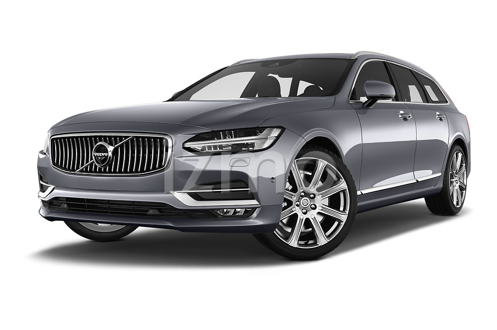 Stock pictures of low aggressive front three quarter view of 2018 Volvo V90 Inscription 5 Door Wagon Low Aggressive