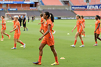 Houston, TX - Saturday July 15, 2017: Bruna Benites warming up during a regular season National Women's Soccer League (NWSL) match between the Houston Dash and the Washington Spirit at BBVA Compass Stadium.