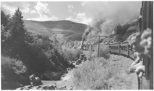 #361 with 5 cars (excursion train).  Photo from train window.<br /> D&amp;RGW    Taken by Richardson, Robert W. - 9/19/1948