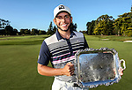 Luke Toomey wins the NZ Amateur Stroke Play Championships after a double playoff against Jonathon Cane, Round Four. Shirley Golf Club, Christchurch, New Zealand, Sunday 27 March 2016. Photo: Simon Watts / BWmedia for NZ Golf<br /> All images &copy; NZ Golf and BWMedia.co.nz