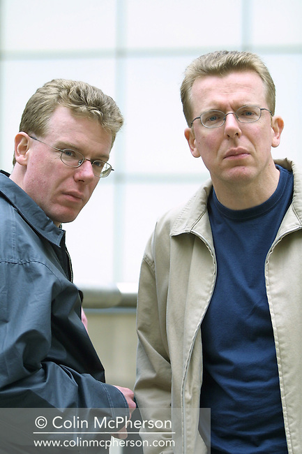 Scottish rock duo The Proclaimers, pictured in Edinburgh during a break in rehearsals for their forthcoming album and tour. Identical twin brothers Craig (left) and Charlie Reid, were brought up in Auchtermuchty, Fife and formed The Proclaimers in 1983. The pair leapt to public attention after a January 1987 appearance on UK popular music programme The Tube on Channel Four and Letter from America peaked at number 3 in the UK singles chart, while the album This is the Story went gold.