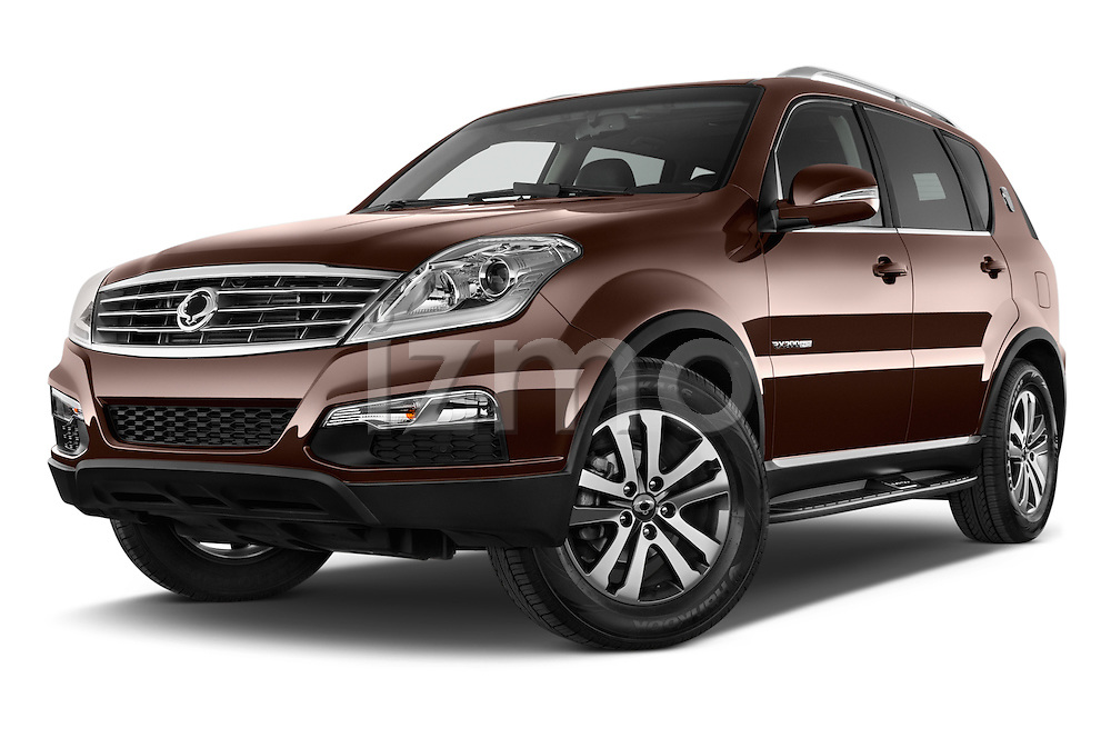 Stock pictures of low aggressive front three quarter view of 2015 Ssangyong Rexton W Sapphire 5 Door Suv Low Aggressive