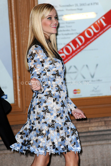 WWW.ACEPIXS.COM<br /> November 9, 2015 New York City<br /> <br /> Reese Witherspoon is seen outside Carnegie Hall on November 9, 2015 in New York City.<br /> <br /> Credit: Kristin Callahan/ACE<br /> <br /> Tel: (646) 769 0430<br /> e-mail: info@acepixs.com<br /> web: http://www.acepixs.com