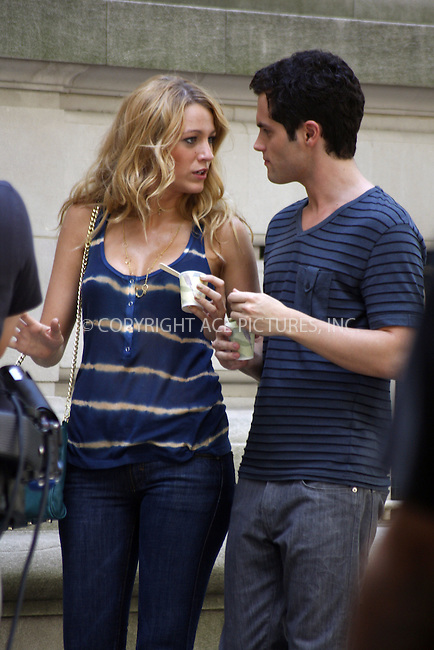 WWW.ACEPIXS.COM . . . . .  ....July 15, 2008. New York City.....Actors Blake Lively and Penn Badgley on the set of the TV show 'Gossip Girl' on July 15, 2008 in New York City.........Please byline: Joanne Juele- ACEPIXS.COM.... *** ***..Ace Pictures, Inc:  ..Philip Vaughan (646) 769 0430..e-mail: info@acepixs.com..web: http://www.acepixs.com