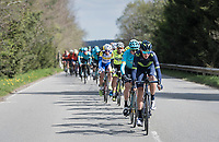 peloton cruising through the Ardennes with Team Movistar setting the pace (for race favourite Alejandro Valverde (ESP/Movistar team)<br /> <br /> 103rd Liège-Bastogne-Liège 2017 (1.UWT)<br /> One Day Race: Liège › Ans (258km)