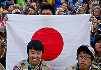 One future host of WSJ hiding behind his flag. Photo: Malin Duveblad/Scouterna