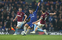 Chelsea's Eden Hazard is challenged by West Ham United's Mark Noble<br /> <br /> Photographer Rob Newell/CameraSport<br /> <br /> The Premier League - Chelsea v West Ham United - Monday 8th April 2019 - Stamford Bridge - London<br /> <br /> World Copyright &copy; 2019 CameraSport. All rights reserved. 43 Linden Ave. Countesthorpe. Leicester. England. LE8 5PG - Tel: +44 (0) 116 277 4147 - admin@camerasport.com - www.camerasport.com