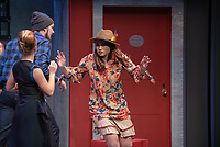 "Photo from the dress rehearsal of the Occidental College Department of Theater presentation of U-R-U by Julia Lederer, directed by Edgerton Guest Artist Jessica Kubzansky, Nov. 28, 2018 in Keck Theater.<br /> First daughter Helen Spectacular travels to Robo Island (Silicon Valley meets the Bermuda Triangle) on a secret mission to free thousands of robots from servitude. Absurdly comic and existentially chilling, U-R-U examines the societal obsession with progress at all costs and the decreasing worth of humanity in this increasingly artificial world.<br /> U-R-U is based on a 1920 science fiction play by the Czech writer Karel Čapek called R.U.R., which was the first time the word ""robot"" was used.<br /> (Photo by Marc Campos, Occidental College Photographer)"