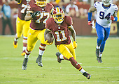 Washington Redskins wide receiver DeSean Jackson (11) carries the ball for a long gain after making a reception in the second quarter of the preseason game against the Buffalo Bills at FedEx Field in Landover, Maryland on Friday, August 26, 2016.  The Redskins won the game 21 - 16.<br /> Credit: Ron Sachs / CNP