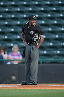 Home plate umpire Darrell Roberts prior to the South Atlantic League game between the Lexington Legends and the Hickory Crawdads at L.P. Frans Stadium on April 29, 2016 in Hickory, North Carolina.  The Crawdads defeated the Legends 6-2.  (Brian Westerholt/Four Seam Images)
