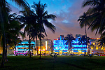 Art Deco styled hotels along Ocean Boulevard in South Beach, a neighborhood in Miami Beach, Florida.