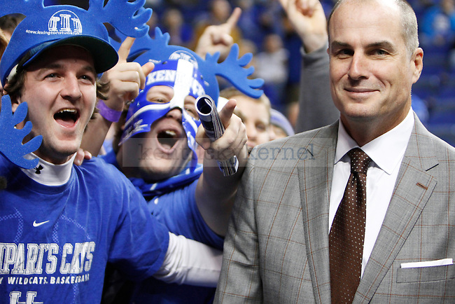 ESPN analyst Jay Bilas mingling with fans in the Erruption Zone during the first half of the UK basketball game vs. Boise State on Tuesday, December 10, 2013, in Lexington, Ky. Photo by Kalyn Bradford | Staff