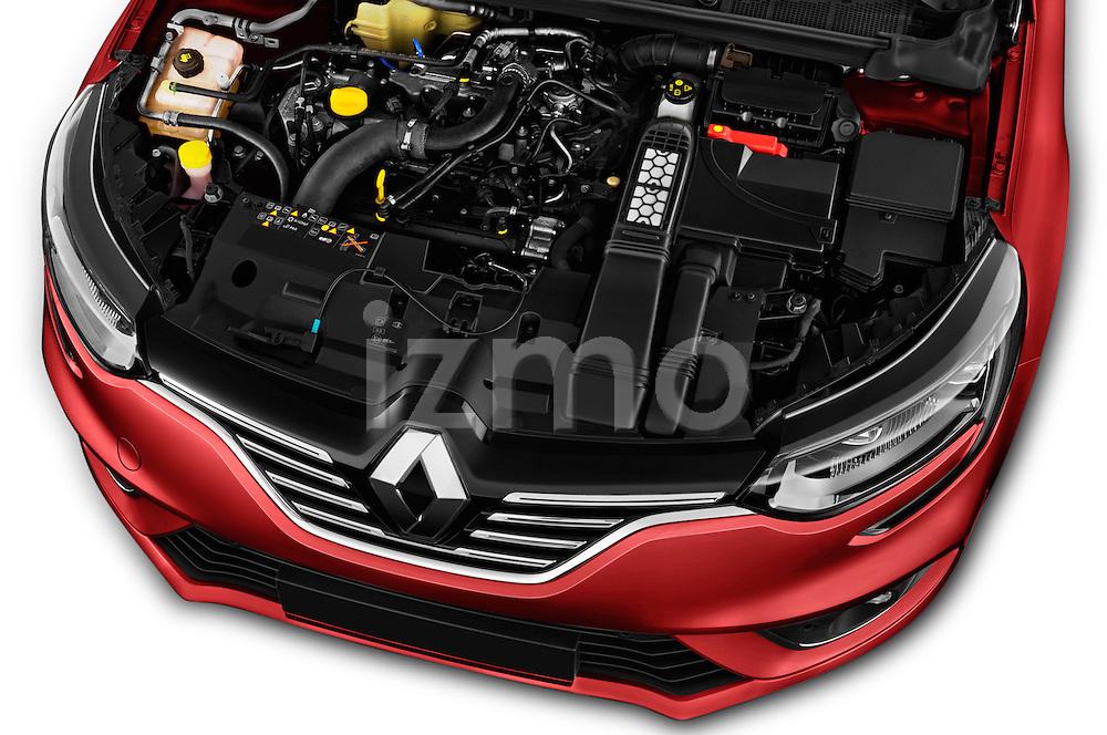 Car Stock 2016 Renault Megane-Grandtour Bose-Edition 5 Door wagon Engine  high angle detail view