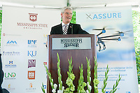 Gov. Phil Bryant speaks at Mississippi State University Friday [June 5] during a campus press conference about the Federal Aviation Administration designating the university as a National Center of Excellence for Unmanned Aircraft Systems. Bryant lauded MSU&Otilde;s leadership and the positive impact that ongoing research and development will have on the state's economy. Bryant said research at MSU has led the world in aerospace, automobile manufacturing and agribusiness.  <br />  (photo by Megan Bean / &copy; Mississippi State University)