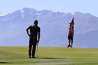 Andy Sullivan (ENG) and Sean McDonagh on the 7th green during Saturday's Round 3 of the 2018 Omega European Masters, held at the Golf Club Crans-Sur-Sierre, Crans Montana, Switzerland. 8th September 2018.<br /> Picture: Eoin Clarke | Golffile<br /> <br /> <br /> All photos usage must carry mandatory copyright credit (&copy; Golffile | Eoin Clarke)