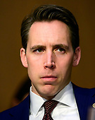United States Senator Josh Hawley (Republican of Missouri) listens as William P. Barr testifies before the US Senate Committee on the Judiciary on his nomination to be Attorney General of the US on Capitol Hill in Washington, DC on Tuesday, January 15, 2019.<br /> Credit: Ron Sachs / CNP<br /> (RESTRICTION: NO New York or New Jersey Newspapers or newspapers within a 75 mile radius of New York City)