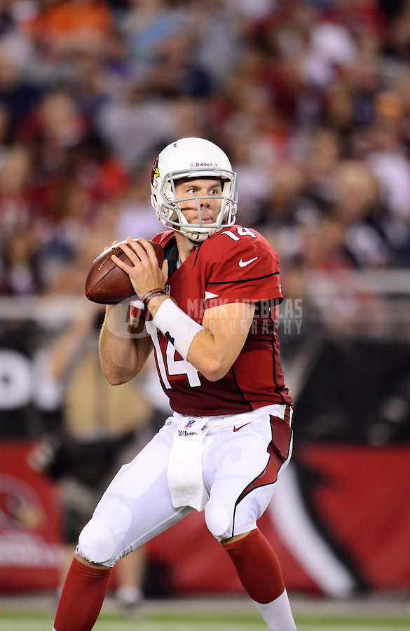Aug. 30, 2012; Glendale, AZ, USA; Arizona Cardinals quarterback (14) Ryan Lindley throws a pass in the second quarter against the Denver Broncos during a preseason game at University of Phoenix Stadium. Mandatory Credit: Mark J. Rebilas-