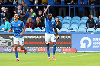Macc's Paddy Osadebe celebrates after scoring 2nd goal during Macclesfield Town vs Leyton Orient, Sky Bet EFL League 2 Football at the Moss Rose Stadium on 10th August 2019
