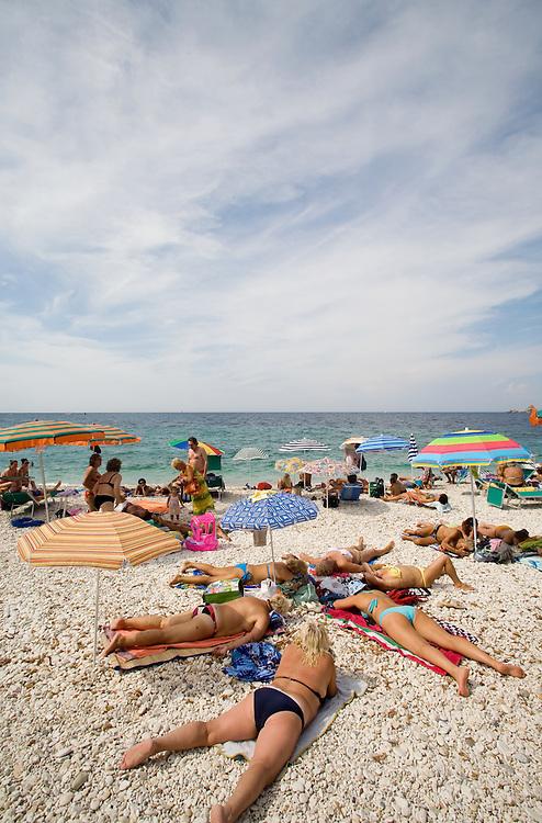 Town beach, Portoferraio, Porto Ferraio, Porto Argo, Elba; Province of Livorno; Mediterranean Sea; Tyrrhenian Sea; Tuscan archipelago, Italy; West coast of Italy, Italian Coast, Tuscan coast,