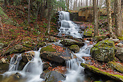 Rollo Fall on the Moose River in Randolph, New Hampshire USA during the autumn months. This small cascade is picturesque after heavy rains.