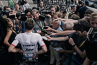John Degenkolb (DEU/Trek-Segafredo) interviewed at the teambus after finishing 2nd in today's stage<br /> <br /> 104th Tour de France 2017<br /> Stage 10 - Périgueux › Bergerac (178km)