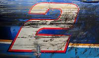 Jul. 3, 2008; Daytona Beach, FL, USA; The damaged car of NASCAR Sprint Cup Series driver Kurt Busch after crashing during practice for the Coke Zero 400 at Daytona International Speedway. Mandatory Credit: Mark J. Rebilas-